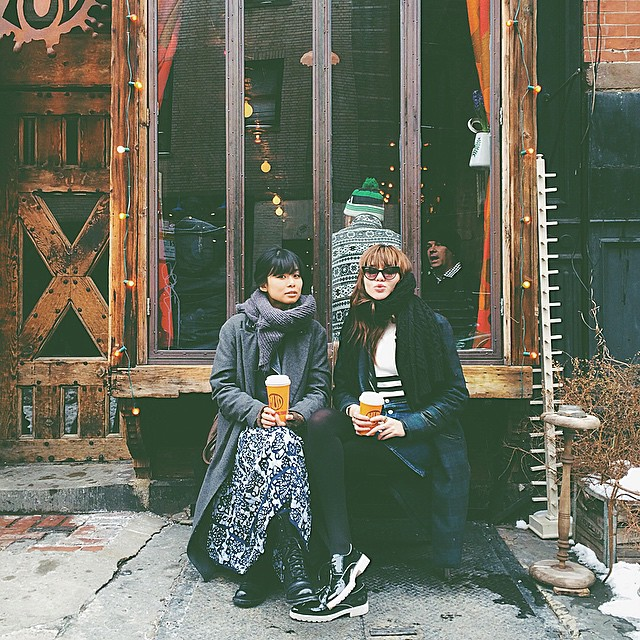Mid-day coffee break with my babe @sabrinaslnyc in the East Village ☕️